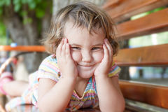 Portrait of young cute child girl on natural background Stock Images