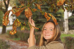 Portrait of young cute girl in autumn park. Nature. Royalty Free Stock Photo
