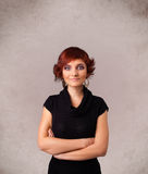 Portrait of a young cute girl with empty copy space. On grungy background Royalty Free Stock Photos