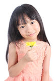 Portrait of young cute girl with yellow flowers Stock Photo