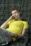 Portrait of young cute thoughtful man Stock Images