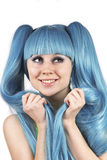 Portrait of young cute woman with blue hair Stock Images