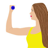 Portrait of young cute woman in fitness wear exercising with dumbbells vector illustration