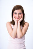 Portrait of a young cute woman. Over gray background Stock Photo