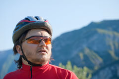 Portrait of a young cyclist in helmet Stock Images