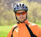 Portrait of Young Cyclist in Helmet Royalty Free Stock Photos