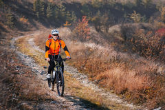 Portrait of young cyclist riding bicycle along trail in the countryside. Stock Images