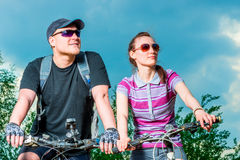 Portrait of a young cyclist in sunglasses Stock Photo