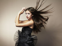 Portrait of young dancing woman Royalty Free Stock Photography
