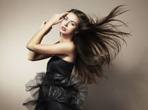 Portrait of young dancing woman Royalty Free Stock Images