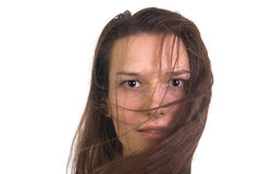 Portrait of girl with the wind in her hair. Portrait of young, dark-haired girl with the wind in her hair against white background Stock Photo