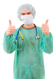 Portrait of young doctor going thumb up, Stock Photos