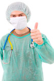 Portrait of young doctor going thumb up Stock Photo