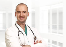 Portrait of young doctor inside Royalty Free Stock Photos