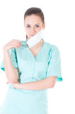 Portrait of a young doctor with mask Stock Photos