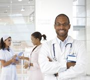 Portrait of young doctor at medical center Royalty Free Stock Images