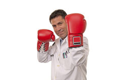 Portrait of young doctor wearing boxing gloves . Royalty Free Stock Images