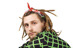Portrait of young dreadlock man isolated royalty free stock image
