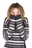 Portrait of young dreadlock man isolated stock image