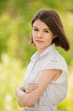 Portrait of young earnest woman Royalty Free Stock Photo