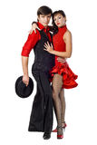 Portrait of young elegance tango dancers. Isolated over white background Royalty Free Stock Photo