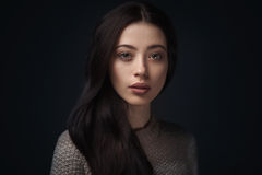 Portrait of young elegant woman in knitted sweater Stock Photos