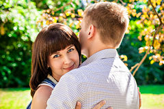 Portrait of young embracing couple Royalty Free Stock Images