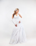 Portrait of young, emotional and beautiful bride Royalty Free Stock Photo