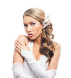 Portrait of young, emotional and beautiful bride Stock Photos