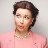 Portrait young emotional woman Royalty Free Stock Image