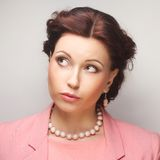 Portrait young emotional woman Royalty Free Stock Photos