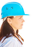 Portrait of  young engineer. Isolated against white background Stock Photo