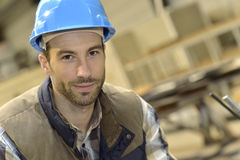 Portrait of a young engineer in industrial factory Royalty Free Stock Photo