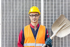Portrait of a young engineer wearing a helmet Royalty Free Stock Image