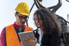 Portrait of a young engineer wearing a helmet Stock Photography