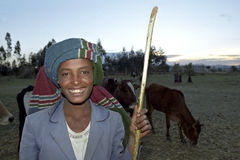 Portrait of young Ethiopian herdsman, cowherd Royalty Free Stock Photo