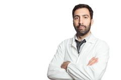 Portrait of young european doctor isolated Royalty Free Stock Photo