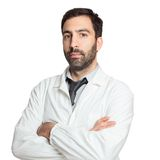 Portrait of young european doctor isolated Stock Photo