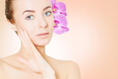 Portrait of young european woman with clear skin  Royalty Free Stock Photography