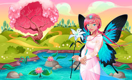 Portrait of a young fairy in a fantasy landscape. Vector illustration Stock Photo