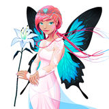 Portrait of a young fairy with a wedding dress and flower Royalty Free Stock Photo