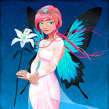 Portrait of a young fairy with a wedding dress and lilium Royalty Free Stock Photos