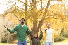 Portrait of a young family with arms raised Stock Photography