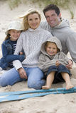 Portrait of young family on beach Royalty Free Stock Photos