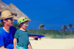 Portrait of young father and son at beach Royalty Free Stock Image