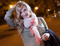 Portrait of a young female businesswoman in night Stock Photos