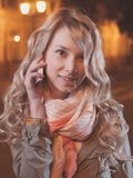 Portrait of a young female businesswoman in night Stock Photography