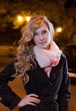 Portrait of a young female businesswoman in night Royalty Free Stock Images