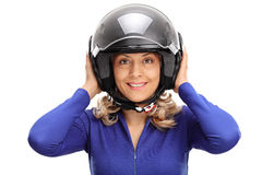 Portrait of a young female car racer Royalty Free Stock Photos
