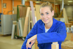 Portrait young female carpenter Stock Photos